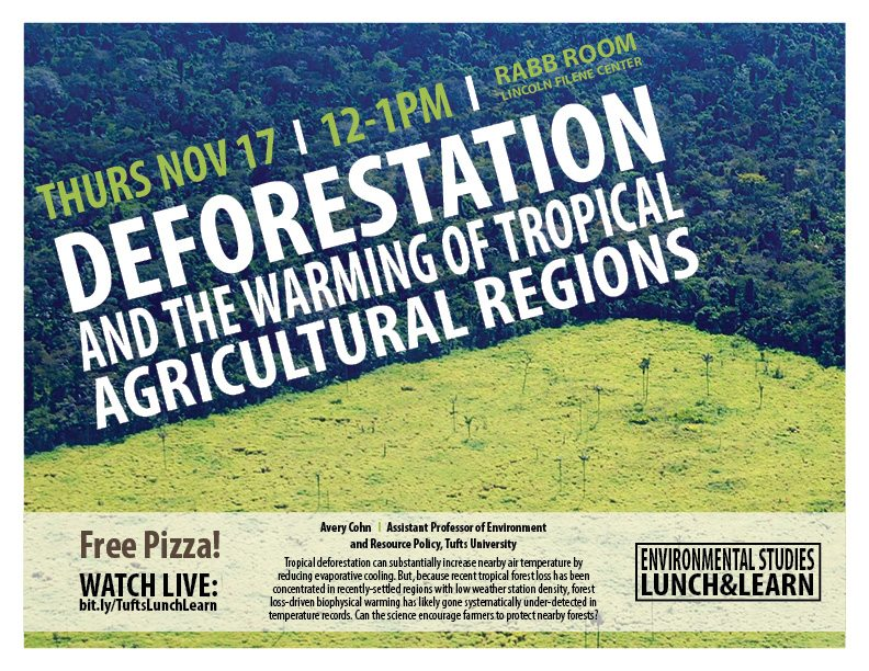 TIE_Lunch & Learn_Deforestation and Warming of Tropical Agricultural Regions