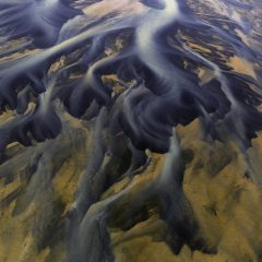 Aerial view of river delta in Iceland